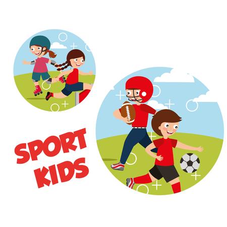 sport kids activity football skating roller soccer vector illustration