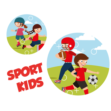 sport kids activity football skating roller soccer vector illustration