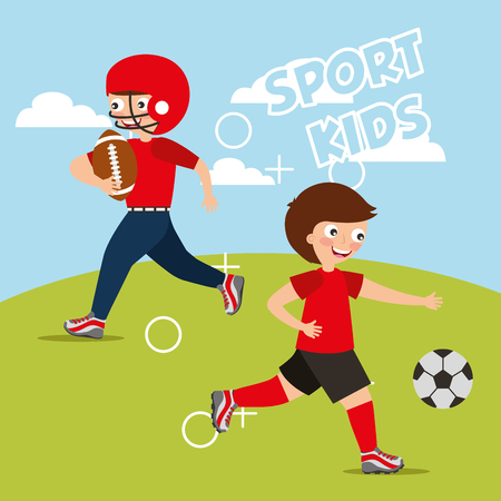 sport kids activity - boys player american football and soccer vector illustration