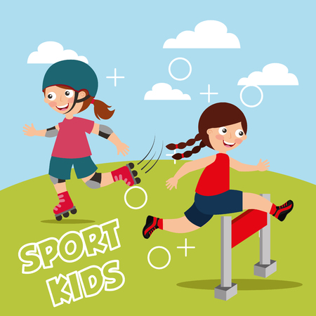 little girl jumping over obstacle race and roller skating sport kids vector illustration