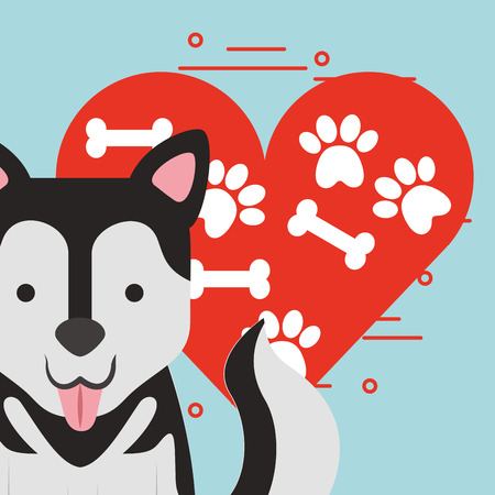 cute dog sitting with paw and bone heart love dog pet vector illustration