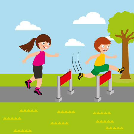 sport kids activity boy and girl competition race obstacles vector illustration Stock Photo