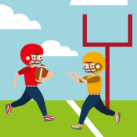 boys playing american football sport kids in the field vector illustration