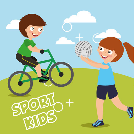 boy riding on bike and girl with ball volleyball sport kids activity vector illustration