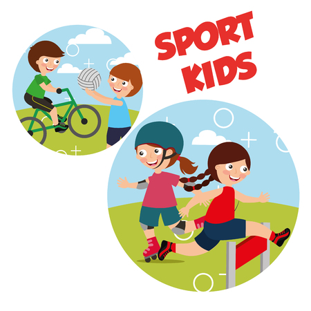 sport kids activity bycicle roller skate race volleyball vector illustration