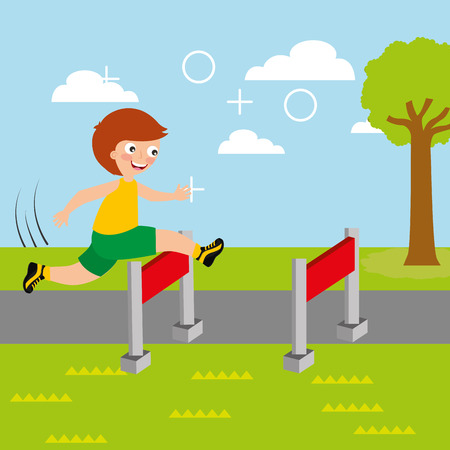 young boy jump race obstacle sport kids activity vector illustration