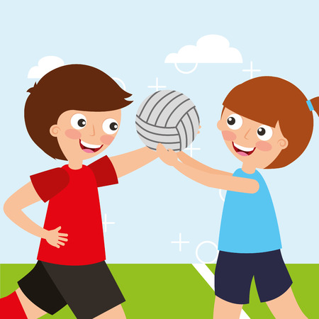 two boys playing ball volleyball sport kids activity vector illustration