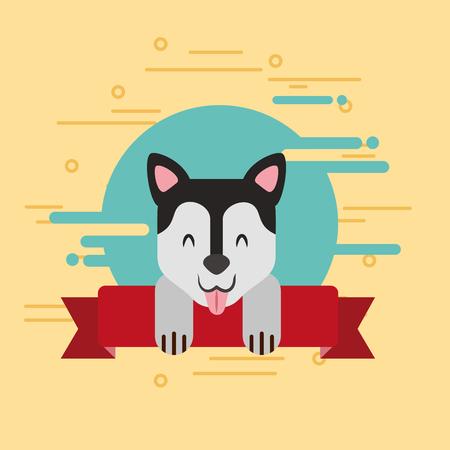 cute dog pet animal on ribbon decoration vector illustration