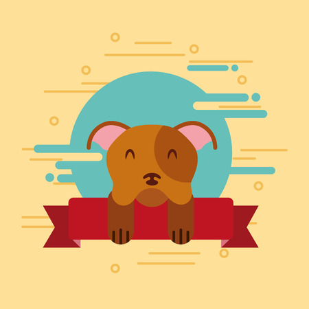 cute dog pet animal on ribbon decoration vector illustration Archivio Fotografico - 97882814