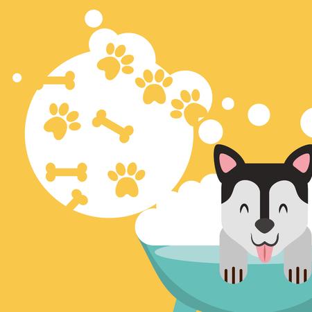dog in bath grooming bubbles paw bone love pet domestic vector illustration Ilustração