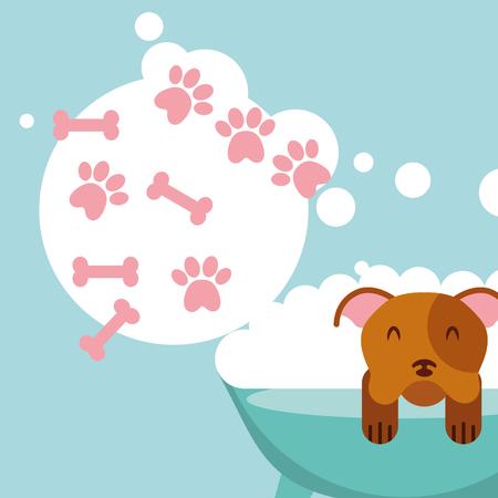 dog in bath grooming bubbles paw bone love pet domestic vector illustration Illustration