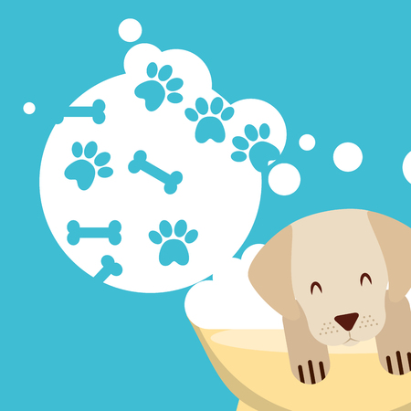 dog in bath grooming bubbles paw bone love pet domestic vector illustration Иллюстрация