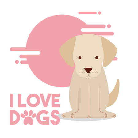 love dog sitting pet domestic animal vector illustration