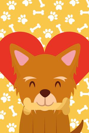 口の中に骨を持つ犬の足は、心臓ベクトルのイラストを愛する
