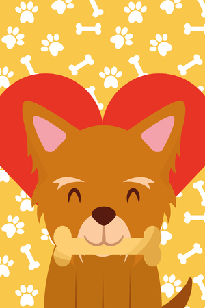 dog with bone in mouth paws love heart vector illustration Иллюстрация