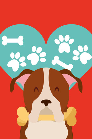 dog with bone in mouth paws love heart vector illustration 写真素材