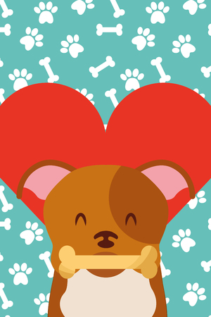 dog with bone in mouth paws love heart vector illustration Фото со стока