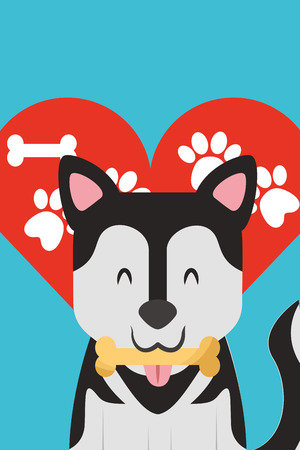 dog with bone in mouth paws love heart vector illustration Banco de Imagens