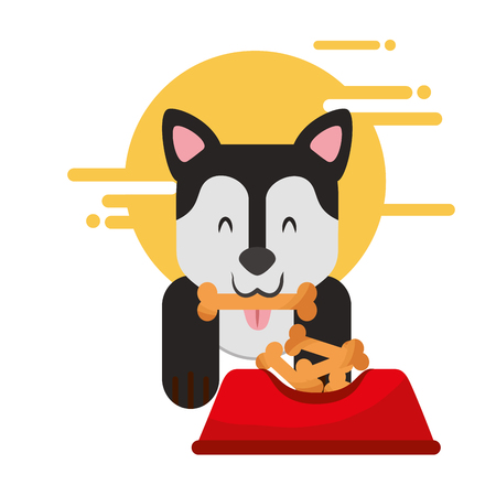 domestic dog with bone in mouth sitting next to full food bowl vector illustration