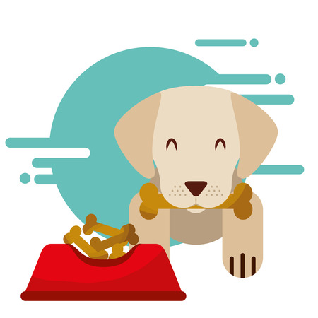 cute dog with bone in mouth bowl food vector illustration