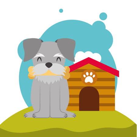 cute puppy dog bone in mouth and dog house in the meadow vector illustration