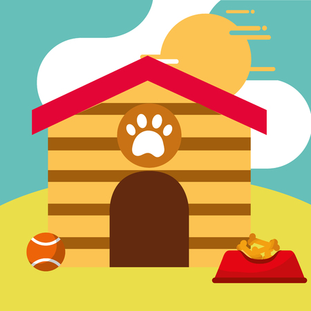 dog house full bowl food and toy ball vector illustration Stock Photo