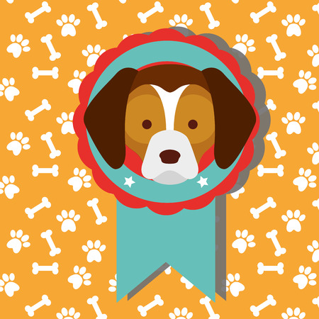 cute dog show medal with winner of dogs competition with bones background vector illustration