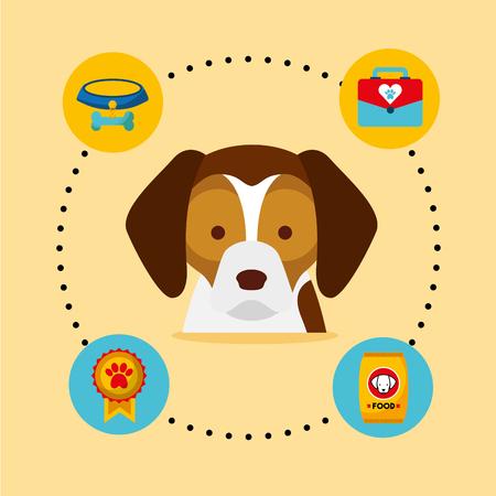 dog beagle medal veterinary kit bowl food vector illustration Ilustração