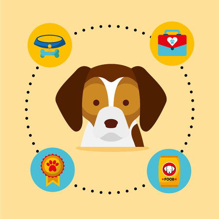dog beagle medal veterinary kit bowl food vector illustration Illustration