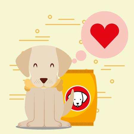 dog with bone sitting next to full dry food bowl and bag package vector illustration