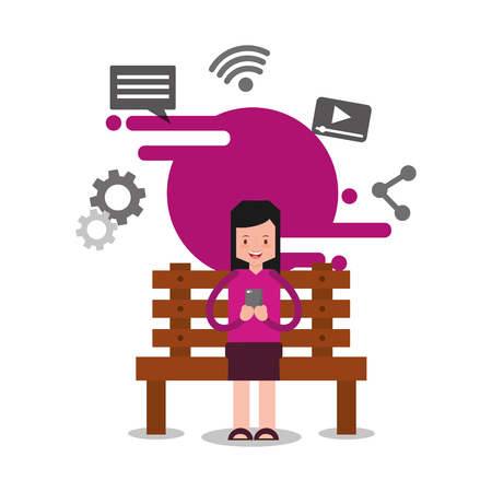 woman character sitting on bench holding smartphone vector illustration  イラスト・ベクター素材
