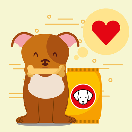 dog with bone sitting next to full dry food bowl and bag package vector illustration Banco de Imagens - 97908858
