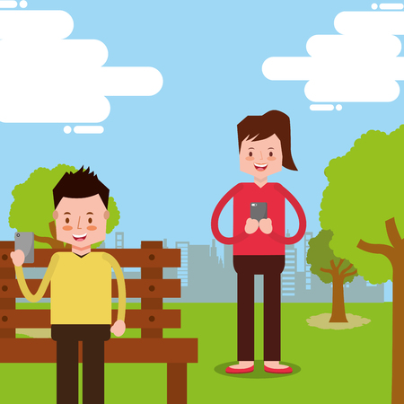 people using smartphone sitting on bench in the park vector illustration