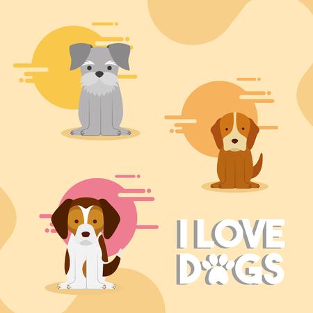 i love dogs puppy mascot vector illustration Banco de Imagens - 97884304