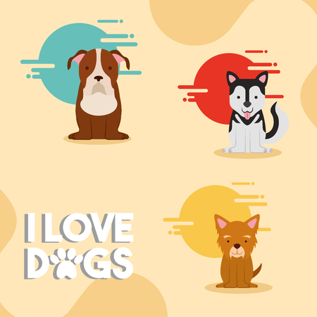 i love dogs puppy mascot vector illustration
