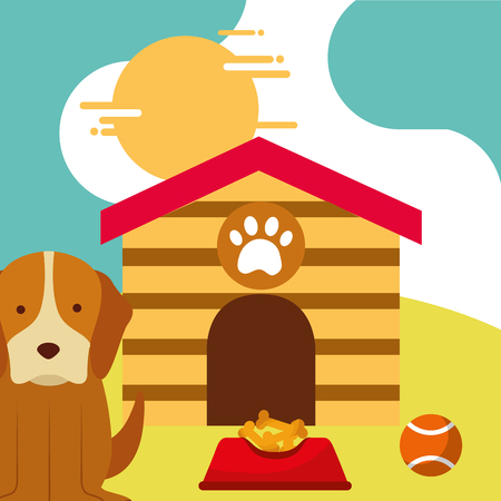 pet dog sitting with food and toy ball dog house vector illustration