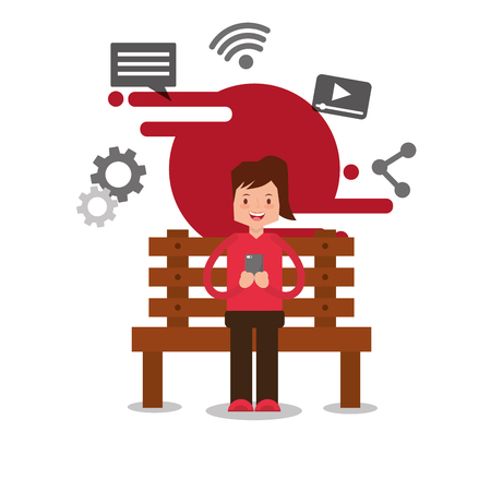 woman character sitting on bench holding smartphone vector illustration Illustration
