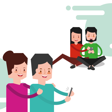 young couples together standing and sitting on floor holding smart phone device vector illustration Stock fotó - 97884118