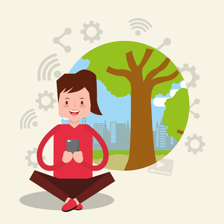 woman sitting on the floor with crossed legs holding smartphone vector illustration