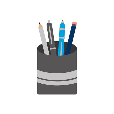 plastic cup with pencil pen supplies office vector illustration Illustration