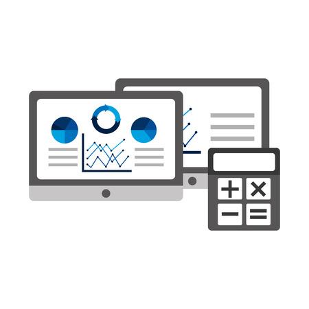 tablet computer statistics analysis data financial vector illustration Illusztráció