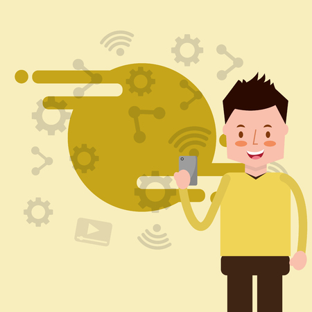 man character standing with smartphone in hands vector illustration Çizim