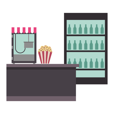 cinema bar counter machine popcorn and cooler sodas vector illustration Illusztráció