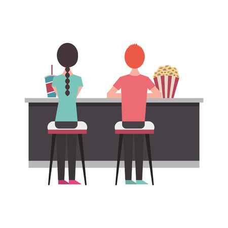 people sitting on stools cinema counter pop corn and soda vector illustration