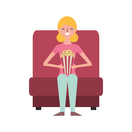young woman in cinema chair with pop corn vector illustration
