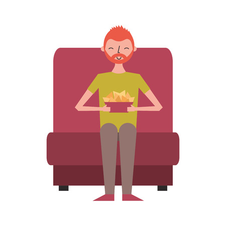 young man sitting in cinema seat with nachos vector illustration