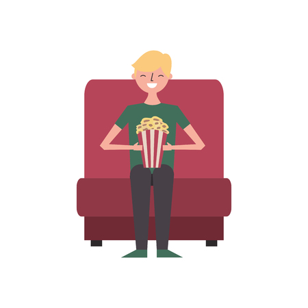 young man sitting in cinema seat with pop corn vector illustration