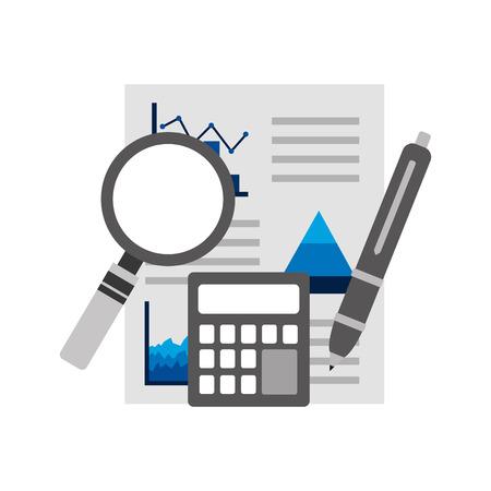 Illustrazione di vettore della penna del calcolatore del documento del rapporto finanziario di affari di analisi di statistiche