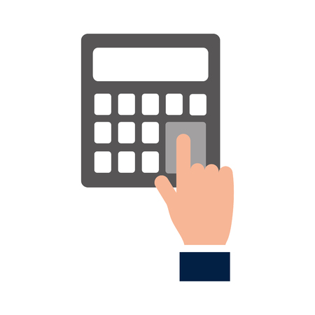 hand pressing calculator button financial vector illustration