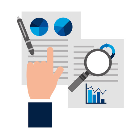 hand with paper work report analysis business vector illustration